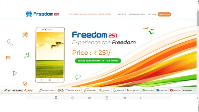 Freedom 251:India's first cheapest smartphone is open for registration by 18 Feb 2016