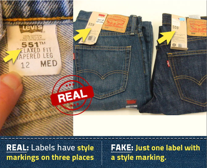 difference between real and fake levis jeans