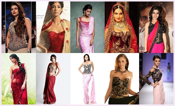 history of sari in different blouses