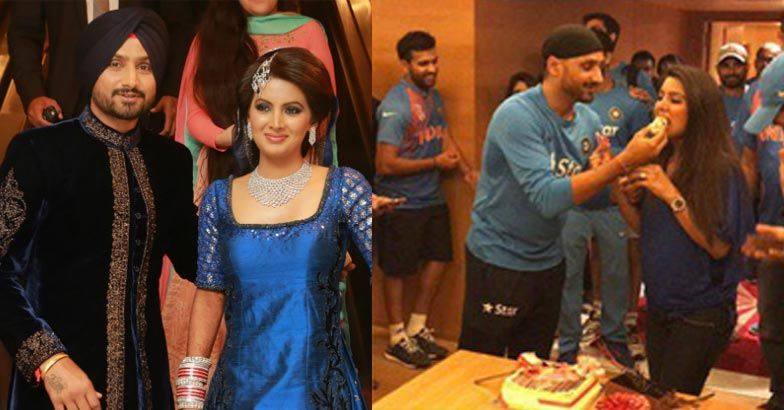 After marriege Geeta Basra has celebrated first birthday with her husband and cricket team