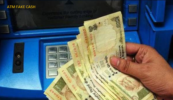 torn or cut out the fake currency as a cash from the atm