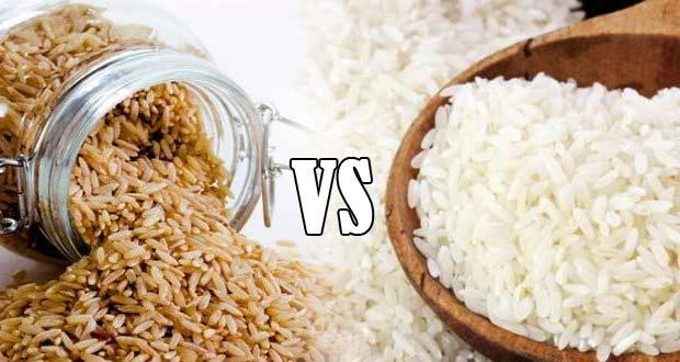 brown rice and white rice